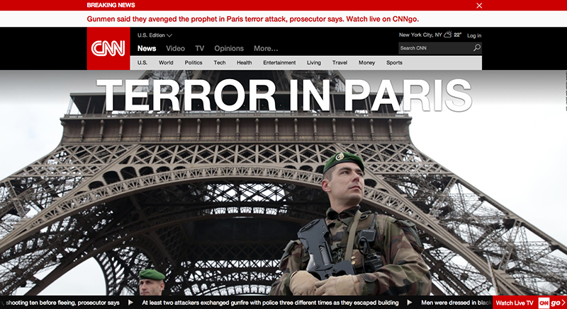 CNN Homepage Terror In Paris