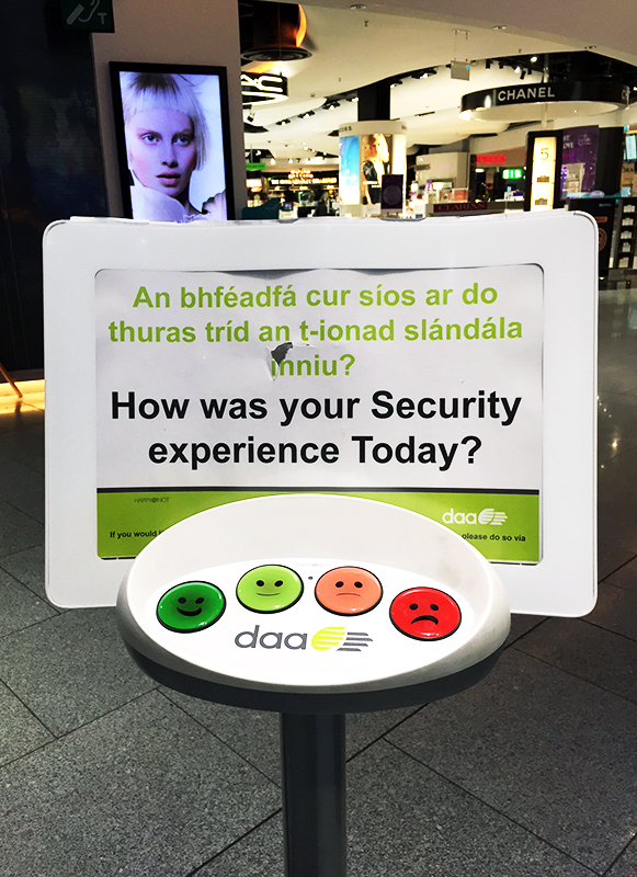 Example of microfeedback at Dublin airport security checkpoint