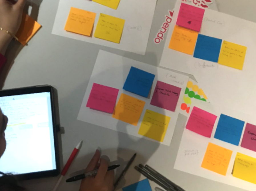 Post it notes on a table during a worksnhop