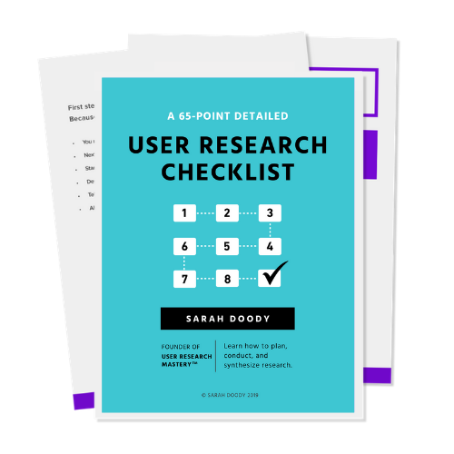 Cover of the user research checklist PDF