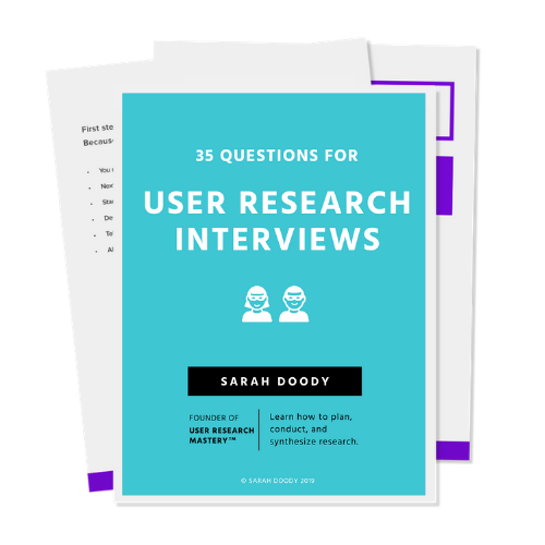 Cover of the user research questions PDF
